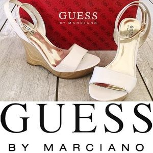 EUC: GUESS WHITE PATENT WEDGES (GWANTHEA)